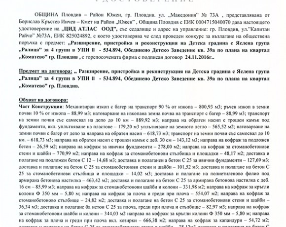 Референция от Район Южен , Община Пловдив